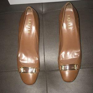 Ralph Lauren brown/gold 3in heels w/some scuffs.